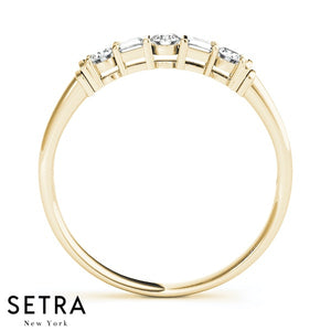 BAGUETTE & ROUND SHAPE DIAMOND CHANNEL SET WEDDING BAND