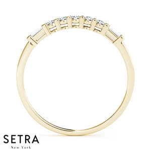 FANCY SHAPE BAGUETTE & ROUND CUT 14K GOLD DIAMONDS WEDDING BAND RING
