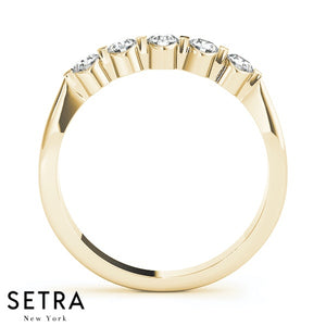 5 STONE 14K GOLD DIAMONDS BURNISH  & BAR SET WEDDING BAND RING