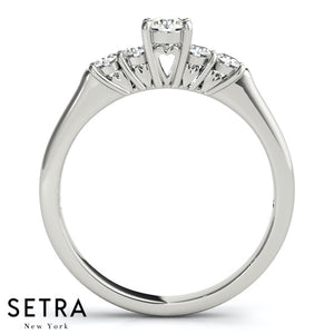 DIAMOND ENGAGEMENT RINGS SINGLE ROW PRONG SET 14K GOLD