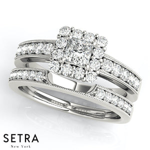 MATCHING SET ENGAGEMENT & WEDDING BAND RING HALO FOR SQUARE & CUSHION