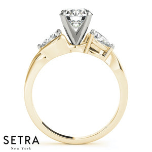 MATCHING SET OF 3 STONE DIAMONDS PEAR-SHAPE CUT ENGAGEMENT & WEDDING BAND RING 14K GOLD