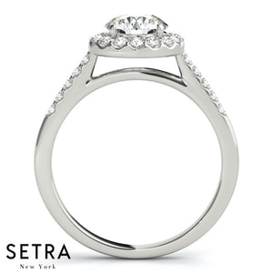 Juliet Round Cathedral Halo Engagement Ring