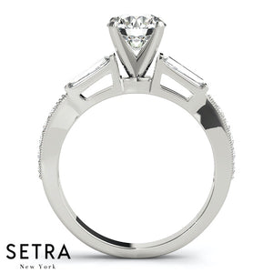 BAGUETTE & ROUND CUT DIAMOND ENGAGEMENT 14K GOLD