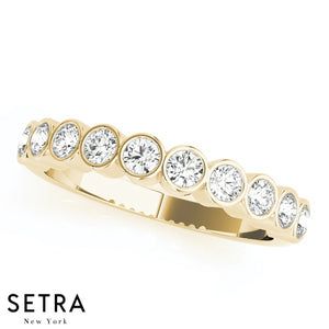 14K GOLD DIAMONDS BEZEL SET WEDDING BAND RING