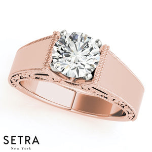 0.75 Ct. Diamond Engagement Ring Solitaire 14kt Fine Rose Gold