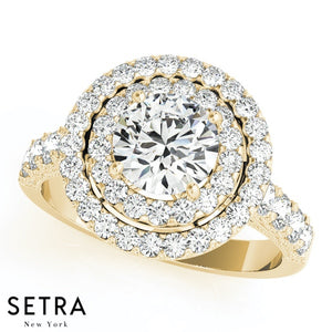 14K FINE GOLD ROUND CUT DIAMOND IN ROUND DOUBLE ROW HALO ENGAGEMENT RING