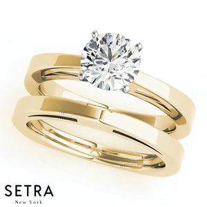 MATCHING SET OF EUROPEAN SOLITAIRES DIAMOND ENGAGEMENT & BAND 14K GOLD RINGS