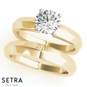 MATCHING SET OF KNIFE EDGE EUROPEAN SOLITAIRES DIAMOND ENGAGEMENT & BAND 14K GOLD RINGS