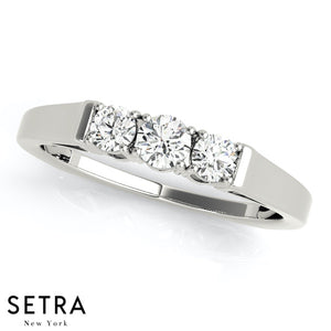 3 STONE WEDDING BAND DIAMONDS RING 14K GOLD