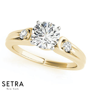 MATCHING SET OF DIAMOND ENGAGEMENT & WEDDING BAND RINGS ROUND STONE 14K GOLD