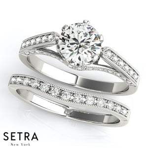 DIAMOND ENGAGEMENT RINGS SINGLE ROW PRONG SET