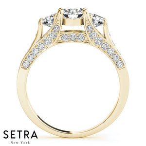 MATCHING 14K FINE GOLD 3 STONE ROUND CUT DIAMONDS ENGAGEMENT RING