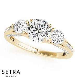 14K FINE GOLD 3 STONE ROUND CUT DIAMONDS SET OF ENGAGEMENT RING & WEEDING BAND