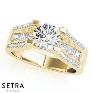 14K GOLD CLUSTER MULTI-ROW SIDES ENGAGEMENT ROUND CUT DIAMOND RING