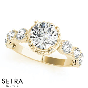 14K GOLD CLUSTER SIDES ENGAGEMENT ROUND CUT DIAMOND RING