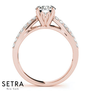 OPEN SPLIT SHANK DIAMOND ENGAGEMENT RING 14K GOLD