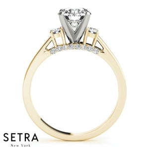 14K FINE GOLD 3 STONE WOMEN'S ROUND CUT CUT DIAMONDS SEMI-MOUNT ENGAGEMENT RINGS