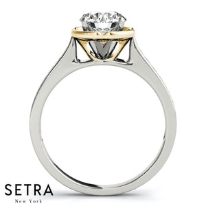 SET OF DIAMOND ENGAGEMENT RING & WEDDING BAND 14K GOLD