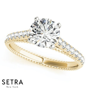 MATCHING PETITE SET OF DIAMOND ENGAGEMENT RING & WEDDING BAND 14K GOLD