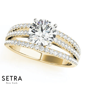 14K GOLD DIAMOND ENGAGEMENT RINGS MULTIROW