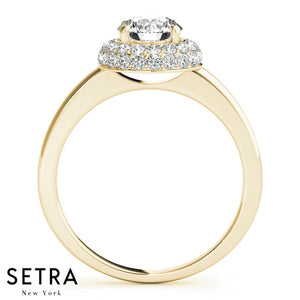Delphine Round Pavé Double Halo Engagement Ring