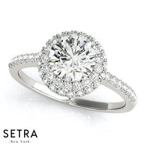 Ella Round Pavé Double Halo Engagement Ring