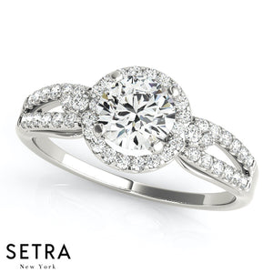 Anastasia Round Pavé Split Shank Halo Engagement Ring