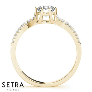 MATCHING SPLIT SHANK SET OF DIAMOND ENGAGEMENT & WEDDING BAND RING 14K GOLD