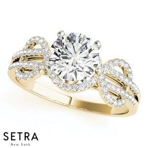 DIAMOND ENGAGEMENT 14K GOLD RING MULTIROW