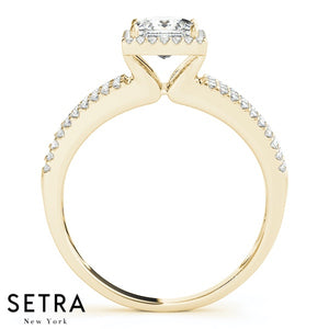 SPLIT 14K GOLD DIAMONDS ENGAGEMENT RINGS HALO FOR SQUARE & CUSHION