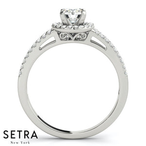 Lenoir Decorative Gallery Split Shank Halo Engagement Ring