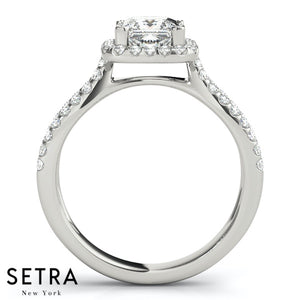 MATCHING SET WEDDING BAND & ENGAGEMENT SPLIT RINGS HALO FOR SQUARE & CUSHION
