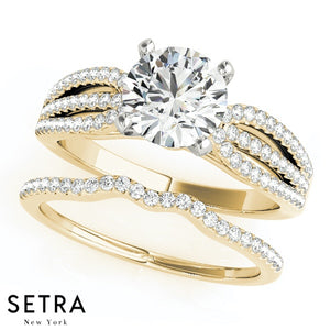 MATCHING SET OF DIAMOND ENGAGEMENT & WEDDING 14K GOLD RINGS
