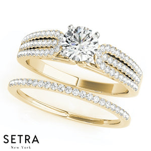 ELEGANT DIAMOND ENGAGEMENT RINGS MULTIROW 14K GOLD