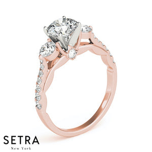 14K FINE ROSE GOLD SEMI MOUNT ENGAGEMENT RING 3 STONE ROUND CUT DIAMONDS