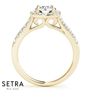 14K FINE GOLD ROUND CUT DIAMOND IN SQUARE HALO SEMI-MOUNT ENGAGEMENT RING