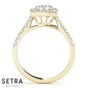 14K FINE GOLD ROUND CUT DIAMOND IN SQUARE HALO ENGAGEMENT HALO  RING
