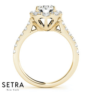 14K FINE GOLD ROUND CUT DIAMOND IN OVAL SEMI-MOUNT ENGAGEMENT RING
