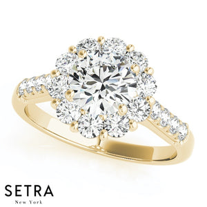 14K GOLD 0.75ct DIAMONDS VINTAGE ENGAGEMENT RINGS HALO ROUND