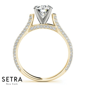 MICRO PAVE SETTING SINGLE ROW DIAMOND ENGAGEMENT RINGS 14K GOLD