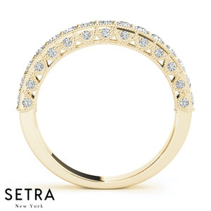 DIAMOND WEDDING BANDS PAVE SET 14K GOLD