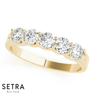U'' SHAPE SETTING DIAMOND WEDDING BANDS 14K GOLD