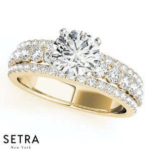 DIAMOND ENGAGEMENT RINGS MULTIROW 14K GOLD