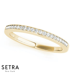14K GOLD DIAMONDS PRONG IN CHANAL SET WEDDING BAND RING