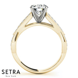 OPEN DIAMOND ENGAGEMENT RING 14K GOLD
