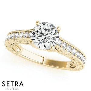 SINGLE ROW 14K FINE GOLD ROUND CUT DIAMOND ENGAGEMENT RING