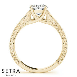 CERTIFIED GIA SOLITAIRE ROUND CUT DIAMOND ENGAGEMENT RINGS 14K GOLD