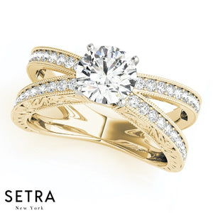 OPEN SPLIT DIAMOND ENGAGEMENT RING 14K GOLD