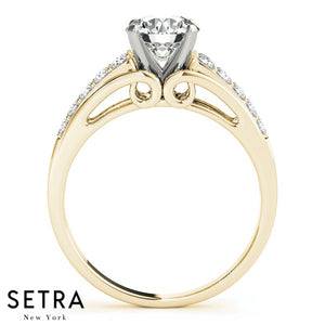 MICRO PAVE SETTING DIAMOND ENGAGEMENT RING 14K GOLD
